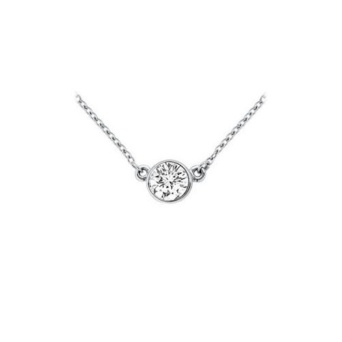 14K White Gold : Bezel Set Round Diamond Solitaire Pendant - 0.75 CT. TW.