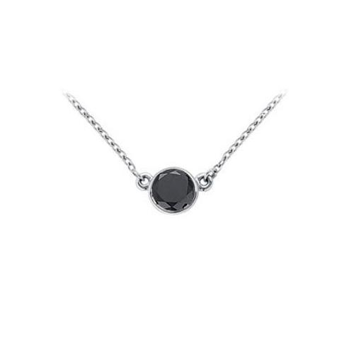 14K White Gold : Bezel Set Round Black Diamond Solitaire Pendant - 1.00 CT. TW.
