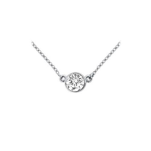 14K White Gold : Bezel Set Round Diamond Solitaire Pendant - 1.00 CT. TDW