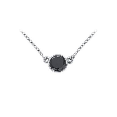 14K White Gold : Bezel Set Round Black Diamond Solitaire Pendant - 1.75 CT. TW.