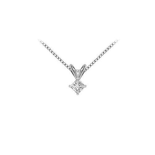 14K White Gold : Princess Cut Diamond Solitaire Pendant - 0.15 CT. TW.