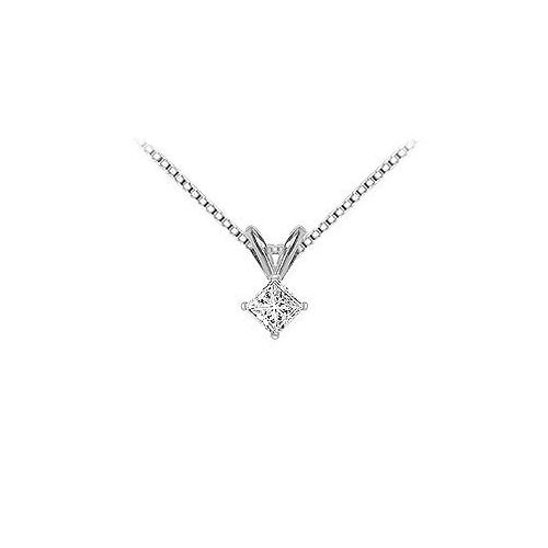 14K White Gold : Princess Cut Diamond Solitaire Pendant - 0.25 CT. TW.