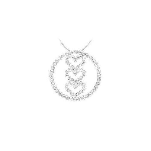Diamond Circle and Heart Pendant : 14K White Gold - 1.00 CT Diamonds
