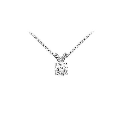 18K White Gold : Prong Set Round Diamond Solitaire Pendant – 0.75 CT. TDW.