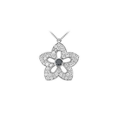Black and White Diamond Flower Pendant : 14K White Gold - 2.00 CT Diamonds