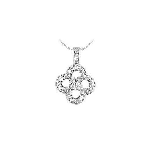 Diamond Flower Pendant : 14K White Gold - 0.50 CT Diamonds