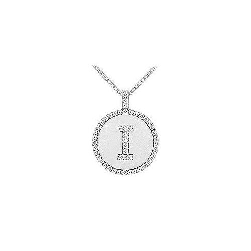 Diamond Initial I Disc Pendant : 14K White Gold - 0.50 CT TGW