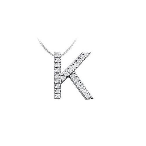 Classic K Initial Diamond Pendant : 14K White Gold - 0.35 CT Diamonds