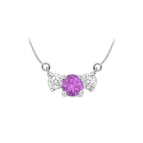 Amethyst and Cubic Zirconia Pendant : .925 Sterling Silver - 1.50 CT TGW