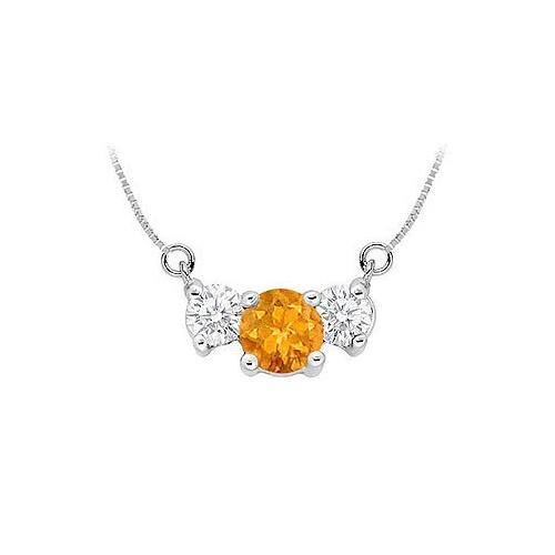 Citrine and Cubic Zirconia Pendant : .925 Sterling Silver - 1.50 CT TGW