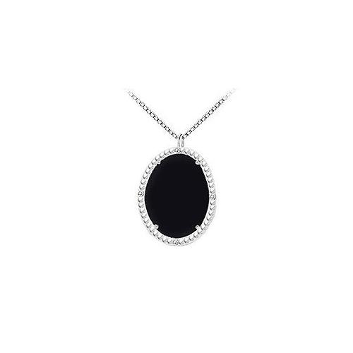 10K White Gold Black Onyx and Diamond Pendant 15.08 CT TGW