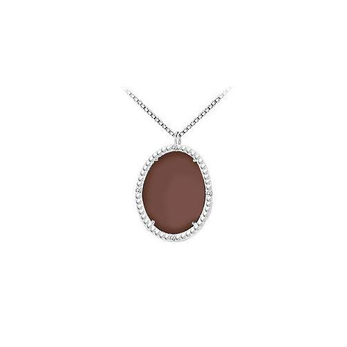 10K White Gold Chocolate Chalcedony and Diamond Pendant 15.08 CT TGW