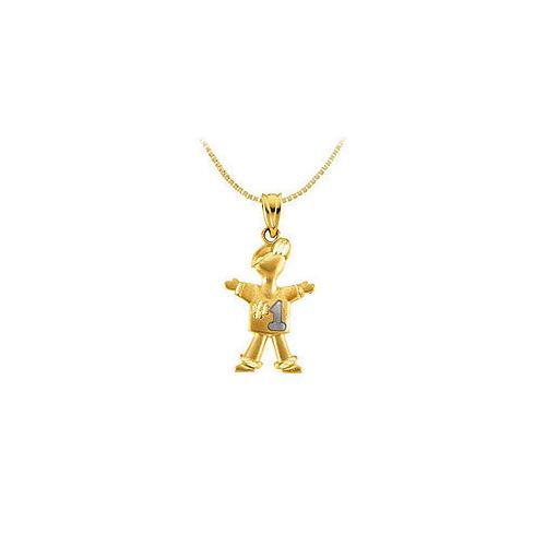 14K Two Tone ( White & Yellow ) Gold #1 Boy Pendant