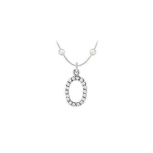 Cubic Zirconia and Cultured Pearl Numeric 0 Charm Pendant : .925 Sterling Silver - 0.08 CT TGW