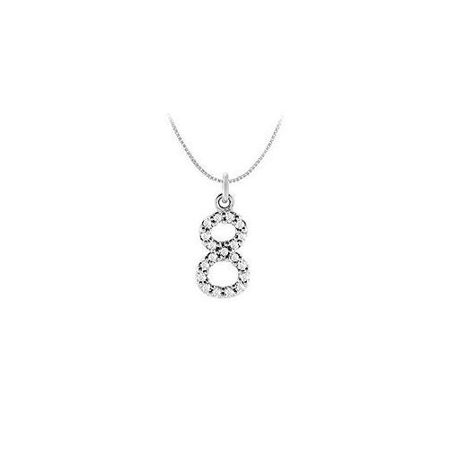 Diamond Numeric 8 Charm Pendant : 14K White Gold - 0.08 CT Diamonds