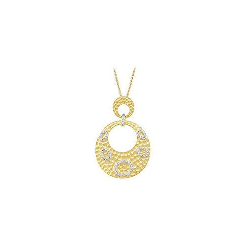 14K Yellow Gold Plated Sterling Silver Cubic Zirconia Pendant