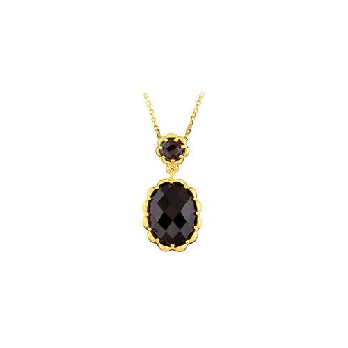 14K Yellow Gold Plated Genuine Checkerboard Smoky Quartz Necklace 18 INCH