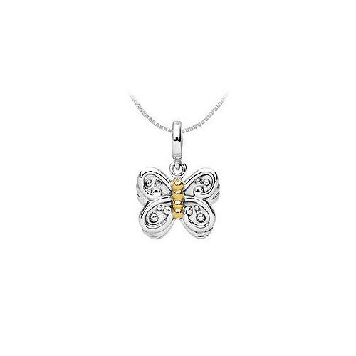 14K Yellow Gold and .925 Sterling Silver Fashion Charm Pendant
