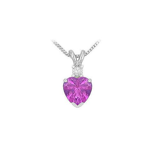 Diamond and Amethyst Solitaire Pendant : 14K White Gold - 1.00 CT TGW