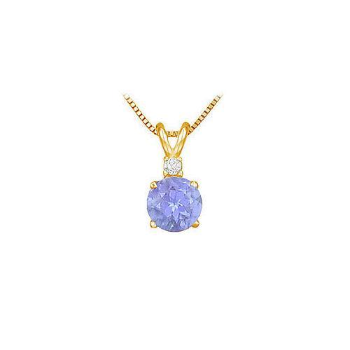 Diamond and Tanzanite Solitaire Pendant : 14K Yellow Gold - 1.00 CT TGW
