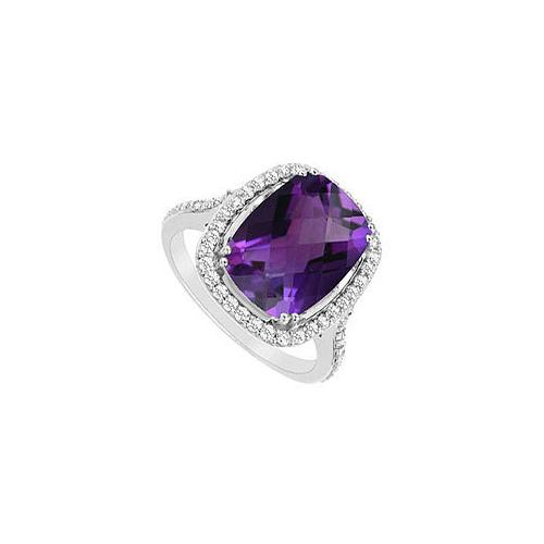 Amethyst and Cubic Zirconia Ring : .925 Sterling Silver - 9.00 CT TGW