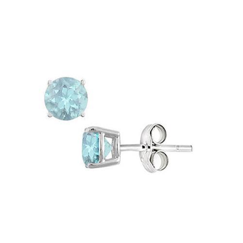 Aquamarine Stud Earrings in Sterling Silver 2.00 CT TGW