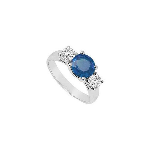10K White Gold Diffuse Sapphire and Cubic Zirconia Three Stone Ring 1.25 CT TGW