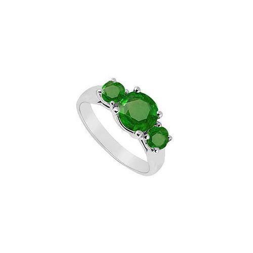 10K White Gold Frosted Emerald Three Stone Ring 1.25 CT TGW