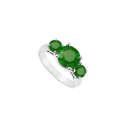 10K White Gold Frosted Emerald Three Stone Ring 2.50 CT TGW