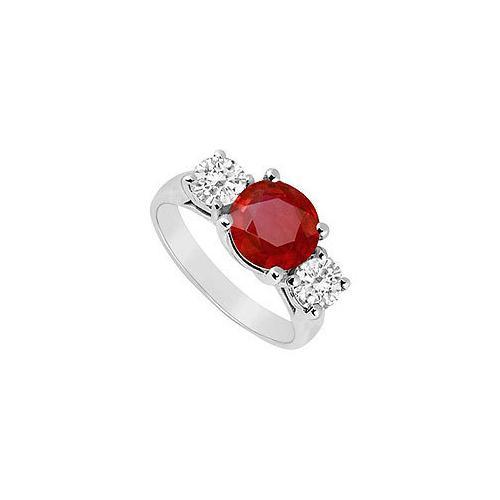 10K White Gold GF Bangkok Ruby and Cubic Zirconia Three Stone Ring 3.00 CT TGW