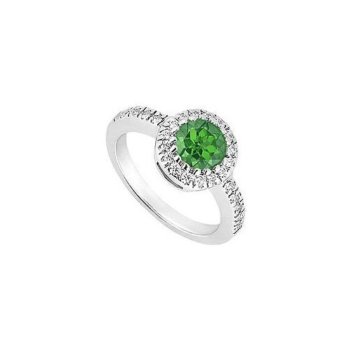 10K White Gold Frosted Emerald and Cubic Zirconia Engagement Ring 0.75 CT TGW