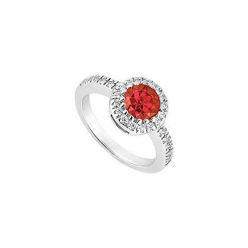 10K White Gold GF Bangkok Ruby and Cubic Zirconia Engagement Ring 0.75 CT TGW