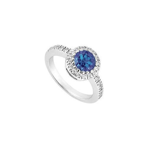 10K White Gold Diffuse Sapphire and Cubic Zirconia Engagement Ring 0.75 CT TGW