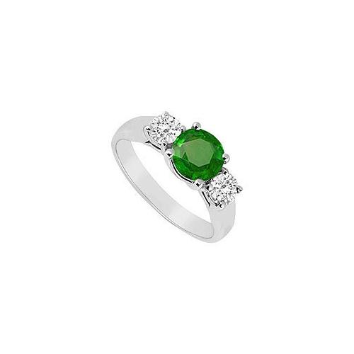 Frosted Emerald and Cubic Zirconia Three Stone Ring 10K White Gold 0.50 CT TGW