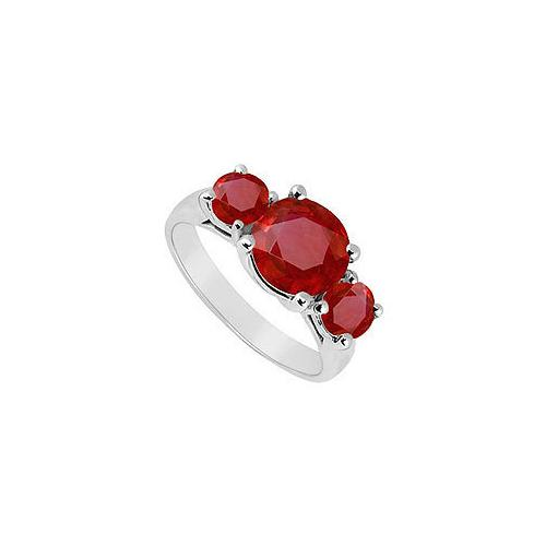 10K White Gold GF Bangkok Ruby Three Stone Ring 0.50 CT TGW