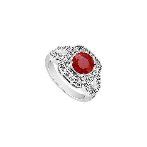 10K White Gold GF Bangkok Ruby and Cubic Zirconia Engagement Ring 1.50 CT TGW