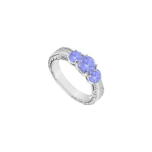 Created Tanzanite Three Stone Ring .925 Sterling Silver 0.50 CT TGW