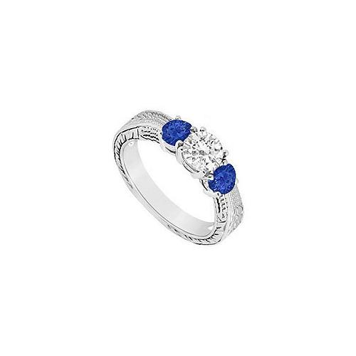 10K White Gold Diffuse Sapphire and Cubic Zirconia Three Stone Ring 0.50 CT TGW