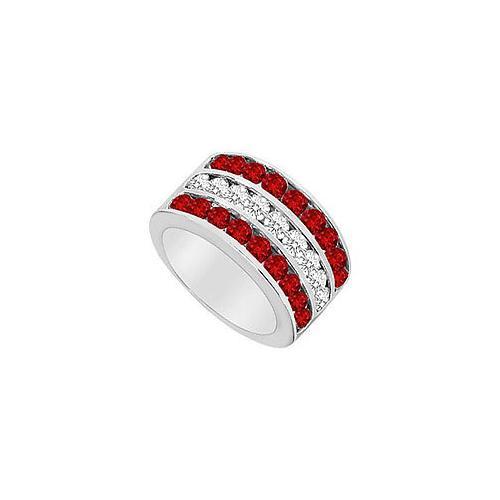 GF Bangkok Ruby and Cubic Zirconia Row Ring .925 Sterling Silver 2.50 CT TGW