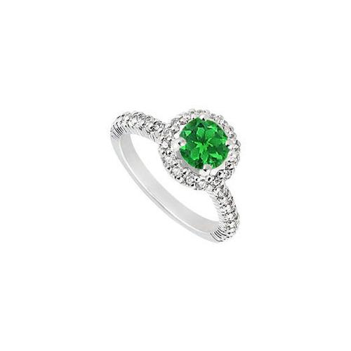 10K White Gold Frosted Emerald and Cubic Zirconia Engagement Ring 1.25 CT TGW