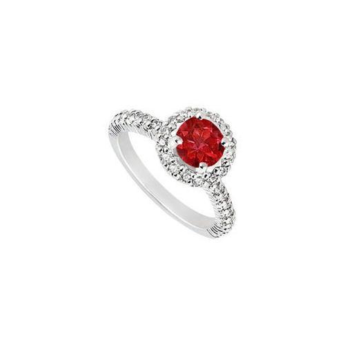 10K White Gold GF Bangkok Ruby and Cubic Zirconia Engagement Ring 1.25 CT TGW