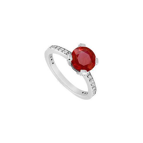 10K White Gold GF Bangkok Ruby and Cubic Zirconia Engagement Ring 1.00 CT TGW