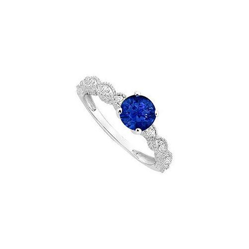 Diffuse Sapphire and Cubic Zirconia Engagement Ring 10K White Gold 0.60 CT TGW