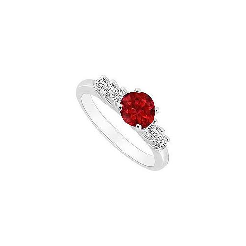 10K White Gold GF Bangkok Ruby and Cubic Zirconia Engagement Ring 0.50 CT TGW