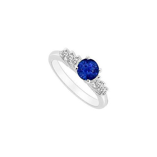 10K White Gold Diffuse Sapphire and Cubic Zirconia Engagement Ring 0.50 CT TGW