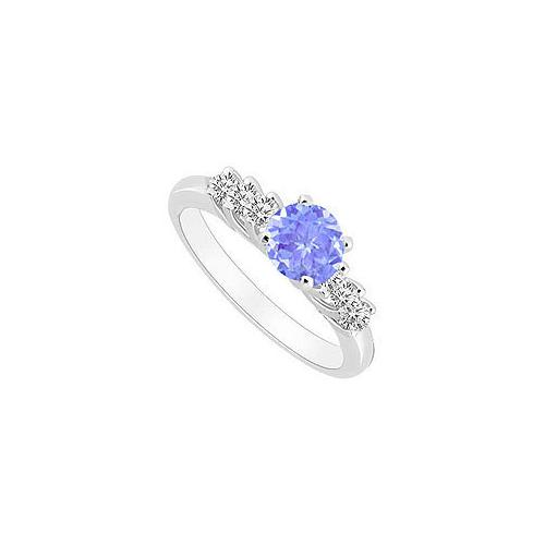 10K White Gold Created Tanzanite and Cubic Zirconia Engagement Ring 0.50 CT TGW