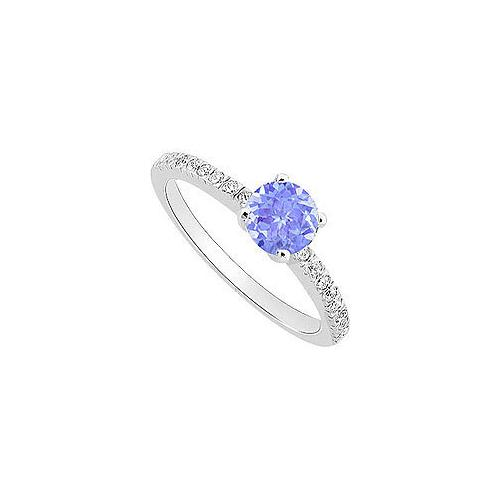Created Tanzanite and Cubic Zirconia Engagement Ring 10K White Gold 0.50 CT TGW