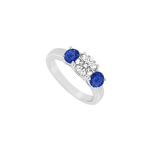 10K White Gold Diffuse Sapphire and Cubic Zirconia Three Stone Ring 1.00 CT TGW