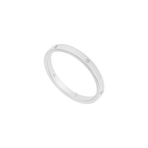 2MM Flat Wedding Band with Diamonds : 14K White Gold - 0.05 CT TDW