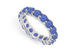 Blue Sapphire Eternity Band : 14K White Gold – 4.00 CT TGW
